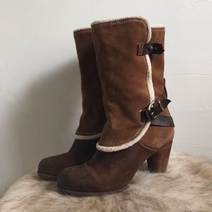 Timberland Leather Shearling Booties